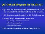 qc oncall program for nlph 1
