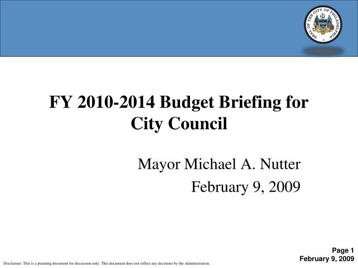 fy 2010 2014 budget briefing for city council n.