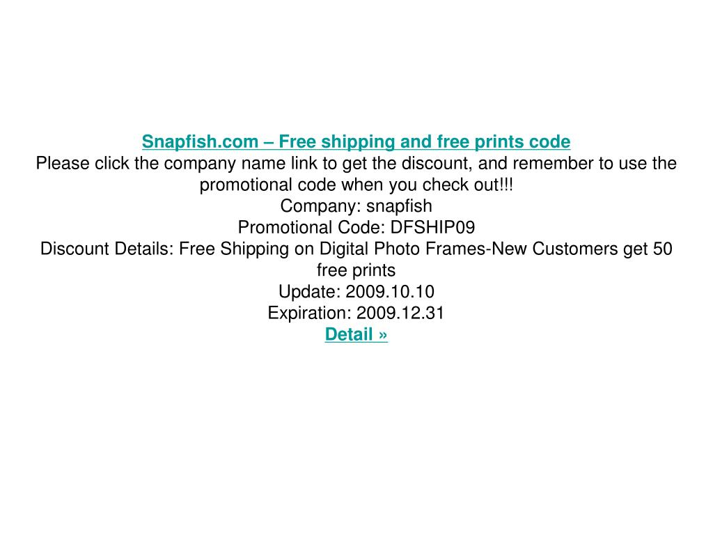 Snapfish.com – Free shipping and free prints code