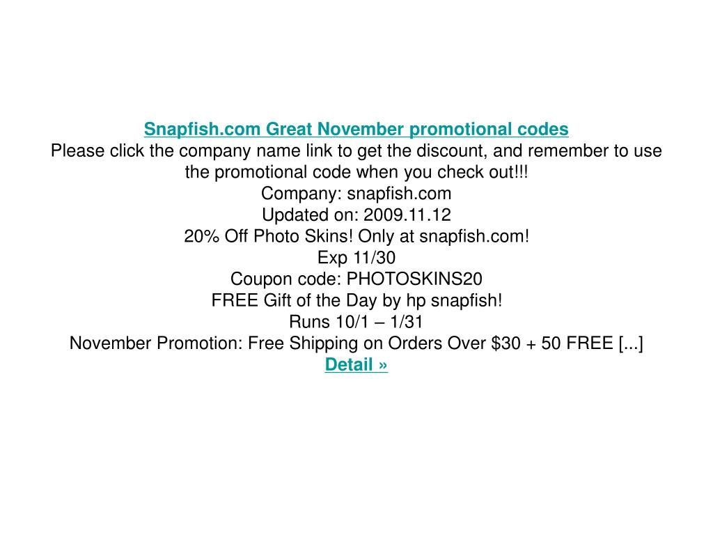 Snapfish.com Great November promotional codes
