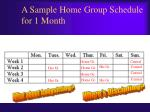 a sample home group schedule for 1 month
