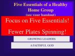 five essentials of a healthy home group see your handout1