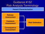 guidance 152 risk analysis terminology