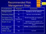 recommended risk management steps