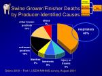 swine grower finisher deaths by producer identified causes