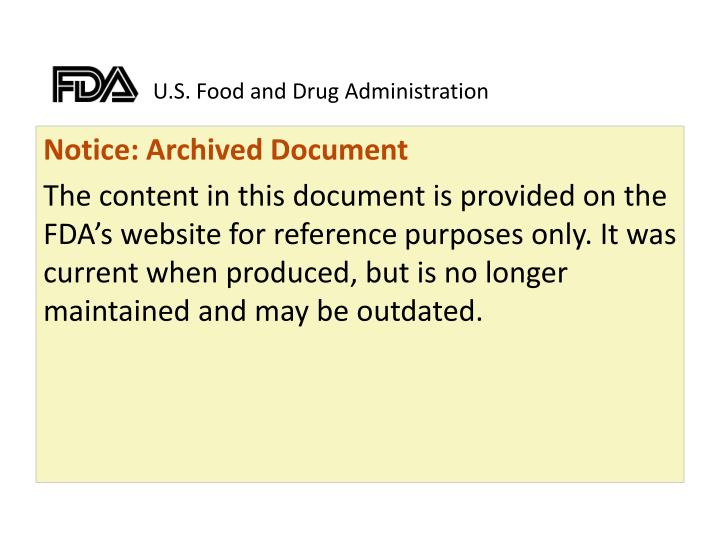 u s food and drug administration n.