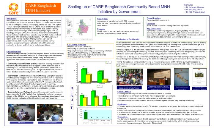 scaling up of care bangladesh community based mnh initiative by government n.