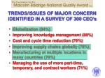 trends issues of major concern identified in a survey of 300 ceo s