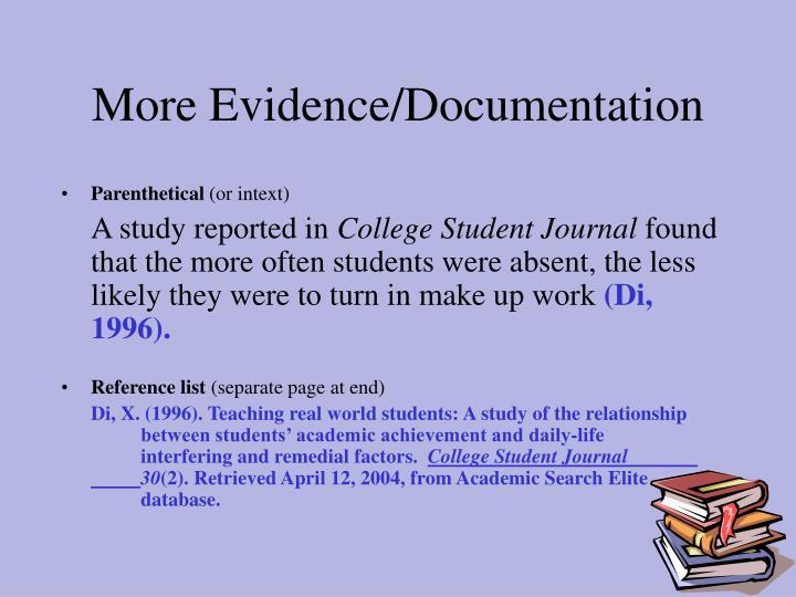 More Evidence/Documentation