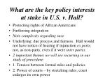 what are the key policy interests at stake in u s v hall1