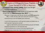 claims of efficacy in case reports case series in mtbi in warriors