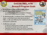 dod va hbo 2 mtbi research program goals