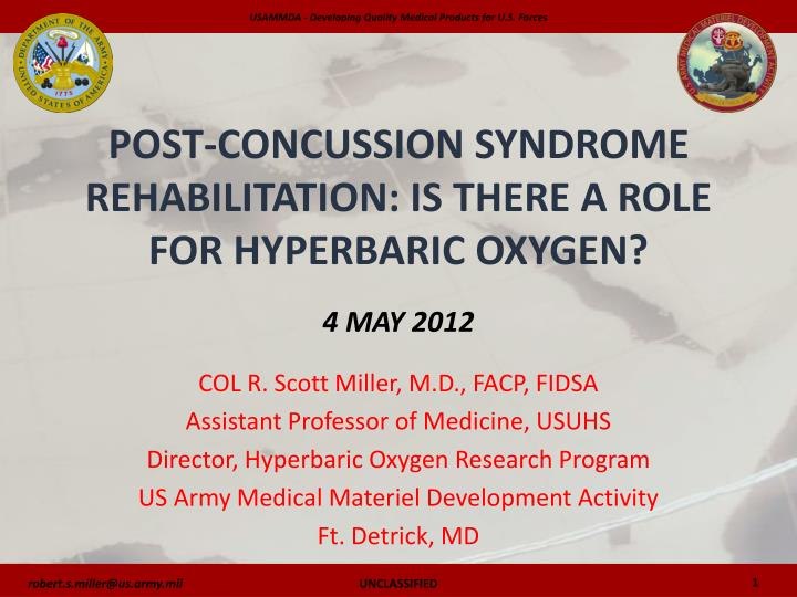 post concussion syndrome rehabilitation is there a role for hyperbaric oxygen 4 may 2012 n.