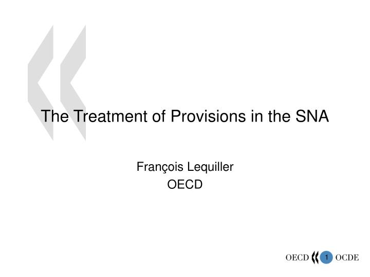 the treatment of provisions in the sna n.