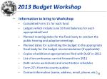 2013 budget workshop