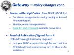 gateway policy changes cont