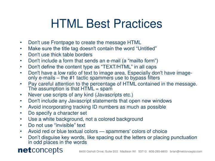 HTML Best Practices