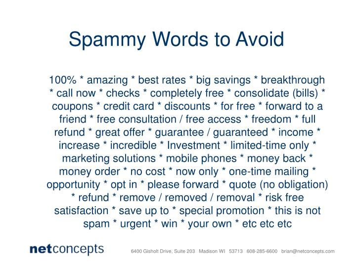 Spammy Words to Avoid
