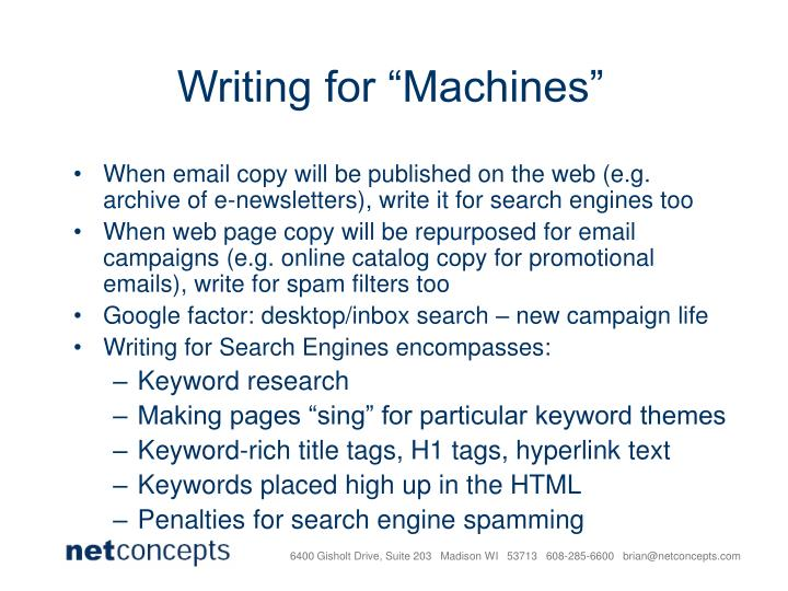 """Writing for """"Machines"""""""