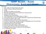 teemp models roads expressway rural and urban2
