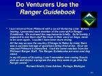 do venturers use the ranger guidebook