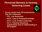perceived barriers to forming venturing crews