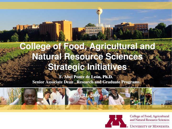 college of food agricultural and natural resource sciences strategic initiatives n.