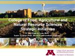 college of food agricultural and natural resource sciences strategic initiatives