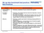 we can also benchmark best practices purchasing best practices