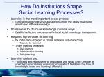 how do institutions shape social learning processes