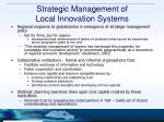 strategic management of local innovation systems