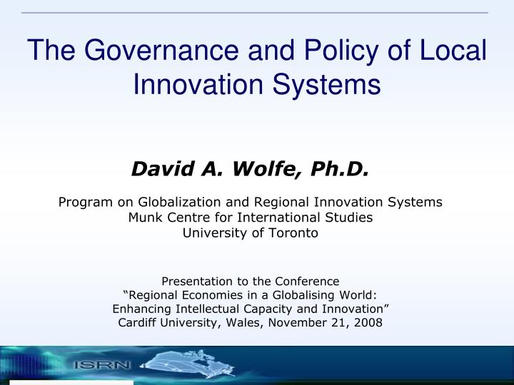 the governance and policy of local innovation systems n.