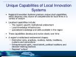 unique capabilities of local innovation systems