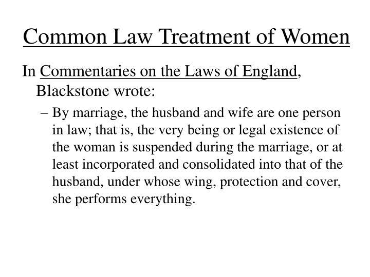 Common law treatment of women