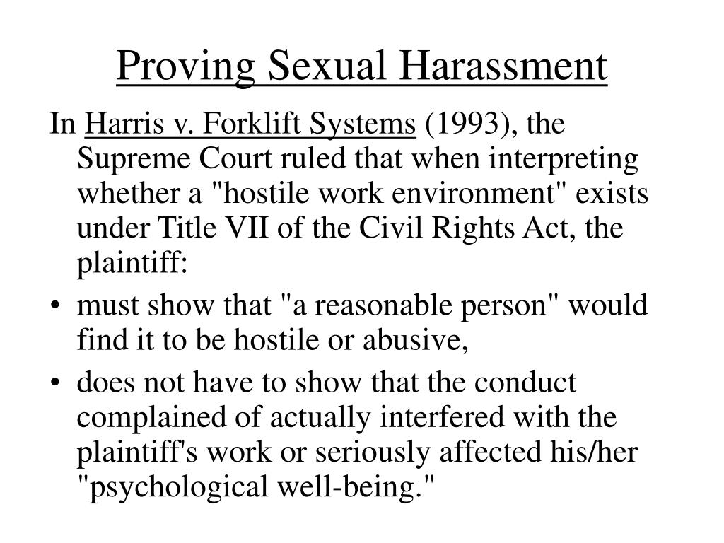 Proving Sexual Harassment