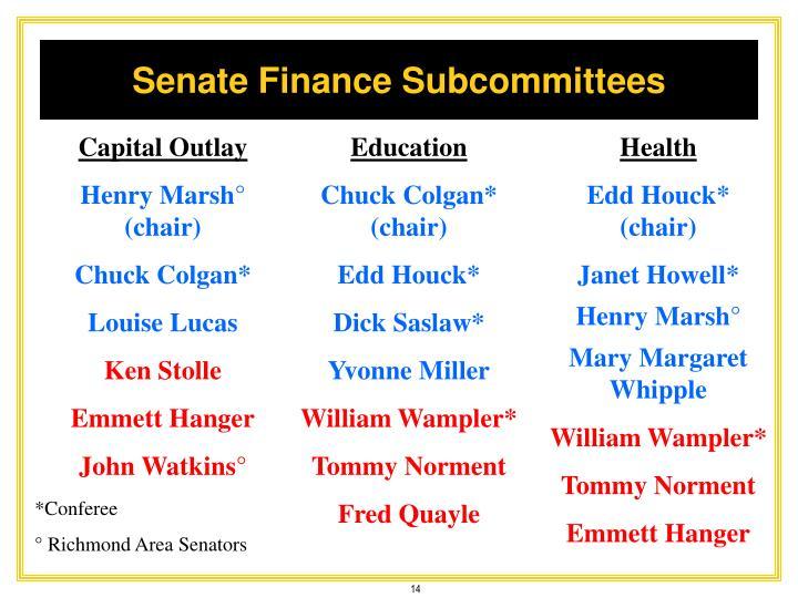 Senate Finance Subcommittees