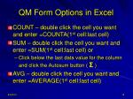 qm form options in excel9