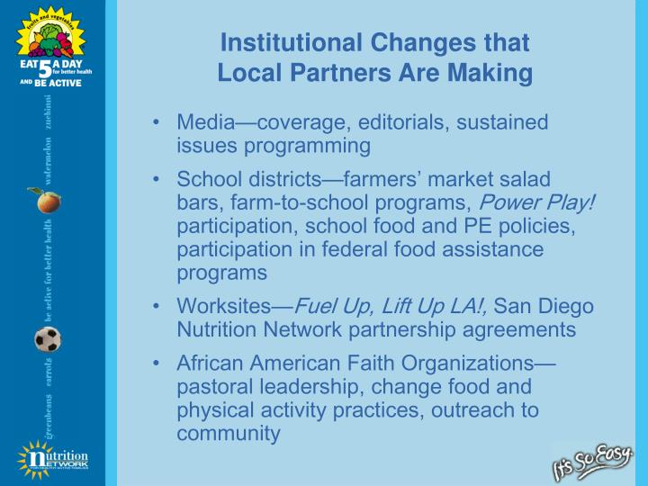Institutional Changes that