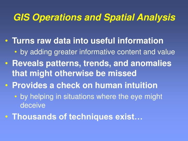 gis operations and spatial analysis n.