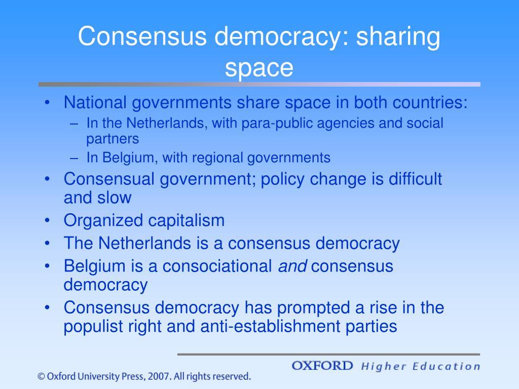 Consensus democracy: sharing space