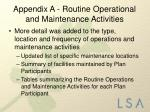 appendix a routine operational and maintenance activities