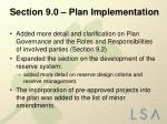 section 9 0 plan implementation