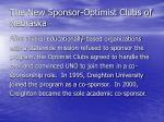the new sponsor optimist clubs of nebraska