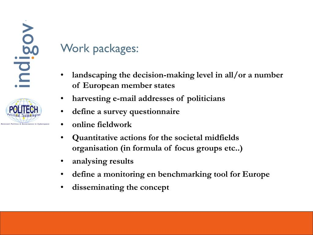 Work packages: