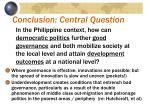 conclusion central question
