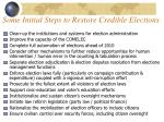 some initial steps to restore credible elections