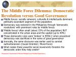 the middle force dilemma democratic revolution versus good governance