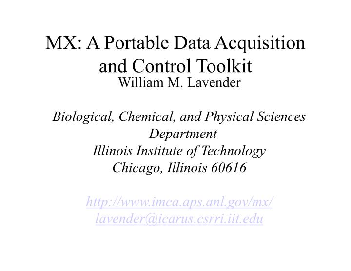 mx a portable data acquisition and control toolkit n.