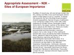 appropriate assessment n2k sites of european importance