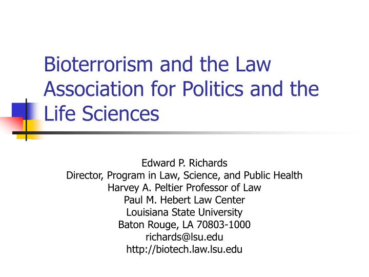 bioterrorism and the law association for politics and the life sciences n.